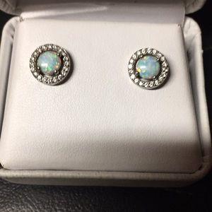 Sterling silver & opal earrings